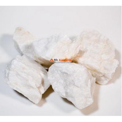 Кварц белоснежный колотый камень для бани и сауны 1 кг в фирменной упаковке